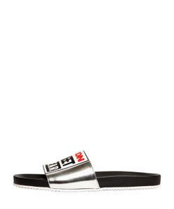 Vision Street Wear | Logo Metallic Leather Slide Sandals