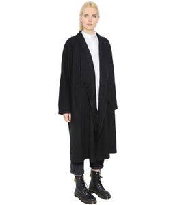 Y'S | Double Breasted Soft Wool Drill Coat