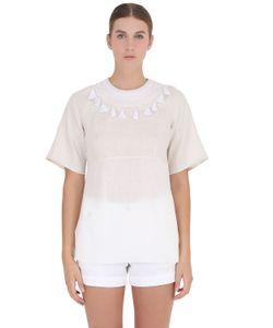 YAKAMPOT | Hand-Embroidered Cotton Linen Top