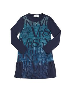 Young Versace | Embellished Cotton Interlock Dress