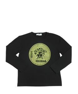 Young Versace | Logo Printed Cotton Jersey T-Shirt