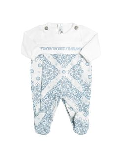 Young Versace | Printed Cotton Jersey Romper