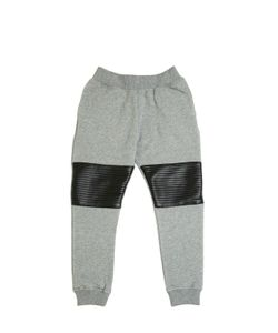 YPORQUÉ | Cotton Jogging Pants W/ Faux Leather
