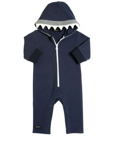 YPORQUÉ | Hooded Shark Teeth Cotton Romper