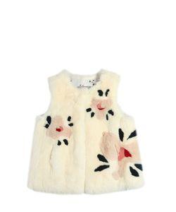 YVES SALOMON ENFANT   Floral Rex Fur Vest