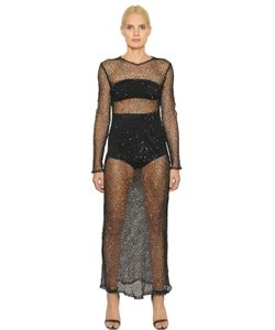 COPURS | Alessanora Beaded Stretch Fishnet Dress