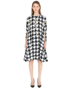 STEFANO DE LELLIS | Embellished Houndstooth Wool Blend Cape