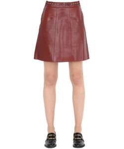 COACH 1941 | Belted Leather Skirt W/ Quilting Details