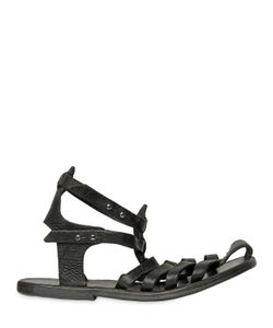 DIMISSIANOS & MILLER   Handmade Grained Leather Cage Sandals