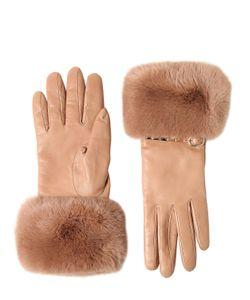 Valentino | Кожаные Перчатки С Кроличьим Мехом