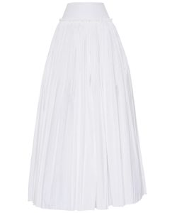 Alberta Ferretti | Ruffled Cotton Poplin Long Skirt