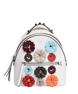 Fendi | Кожаный Рюкзак С Цветочной Аппликацией