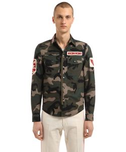 Valentino | Рубашка Из Габардина С Нашивками В Стиле Милитари