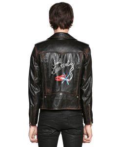Saint Laurent   Кожаная Куртка С Винтажным Эффектом И Принтом