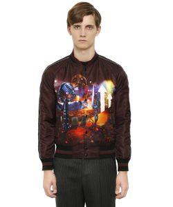 Lanvin | Куртка-Бомбер Из Техноатласа С Принтом