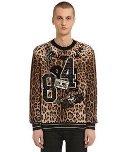 Dolce & Gabbana | Свитшот Из Парчи С Нашивками И Леопардовым Принтом