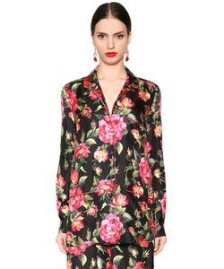 Dolce & Gabbana | Рубашка Из Шёлковой Саржи С Цветочным Принтом