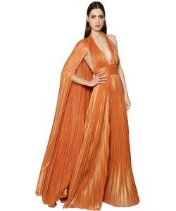 Elie Saab | Plisse Georgette Lamé Gown W Cape