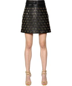 Elie Saab | Eyelets Nappa Leather Mini Skirt