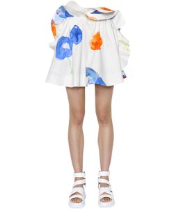 MSGM | Ruffled Printed Cotton Poplin Skirt