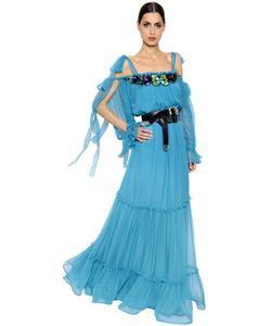 Alberta Ferretti | Embroide Silk Chiffon Tulle Dress