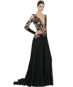Zuhair Murad | Платье Из Крепа И Тюля С Вышивкой