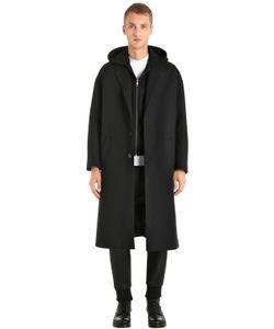 Neil Barrett   Шерстяное Пальто С Неопреновым Жилетом И Капюшоном