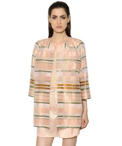 MAX MARA SHINE! | Striped Light Cotton Blend Organza Coat