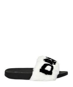 Dolce & Gabbana   Шлёпанцы С Кроличьим Мехом И Логотипом 20mm