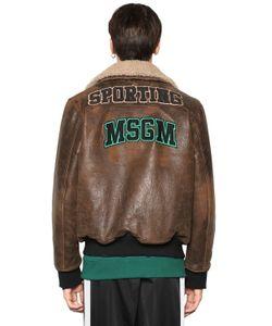 MSGM | Кожаная Куртка С Воротником Из Овчины