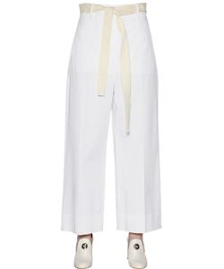 SportMax | Wide Leg Stretch Cotton Gabardine Pants