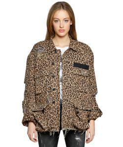 R13 | Куртка Из Деним С Леопардовым Принтом