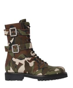 Alexandre Vauthier | 20mm Camo Cotton Canvas Combat Boots