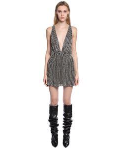 Saint Laurent | Платье Из Жоржета С Кристаллами Swarovski