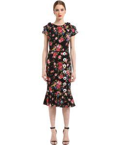 Dolce & Gabbana | Платье Из Шармез С Принтом Розы