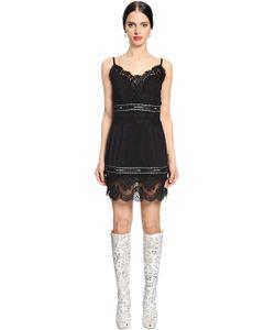 Dolce & Gabbana | Платье Из Стретч Жоржета С Кружевом