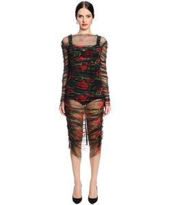 Dolce & Gabbana | Платье Из Стретч Тюля С Принтом Розы