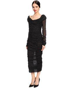 Dolce & Gabbana   Шёлковое Платье С Принтом В Горошек И Драпировкой