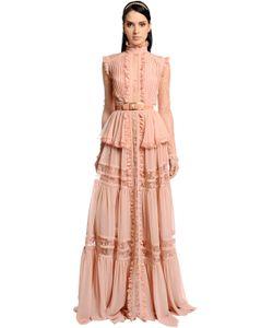Elie Saab | Платье Из Кружева И Креп-Жоржета С Оборками