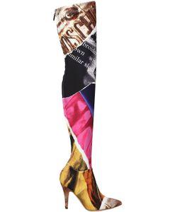 Moschino | Ботфорты Из Неопрена С Принтом Editorial 100Мм