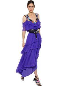 Alberta Ferretti | Flowers Embroide Silk Chiffon Dress
