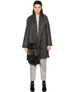Marina Rinaldi | Пальто Из Шерсти И Хлопка С Меховой Деталью