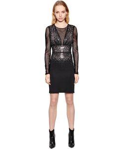 Just Cavalli | Платье Из Вискозного Джерси И Сетки Со Стразами