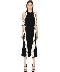 Jonathan Simkhai   Платье Из Двойного Крепа С Оборками