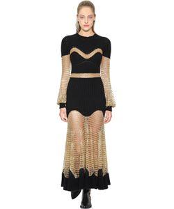 Alexander McQueen | Платье Из Трикотажа И Сетки Из Люрекса