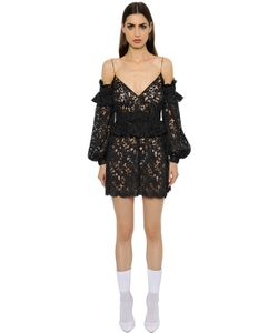 Francesco Scognamiglio | Cut Out Shoulder Macramé Lace Dress