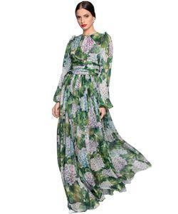 Dolce & Gabbana | Платье Из Шёлкового Шифона С Принтом Гортензия