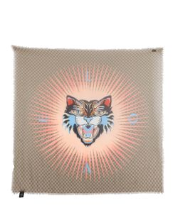 Gucci | Платок Angry Cat С Бахромой И Фирменным Рисунком