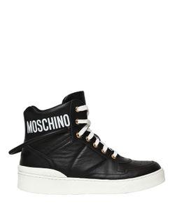 Moschino | Высокие Кроссовки Из Кожи С Логотипом 20Мм