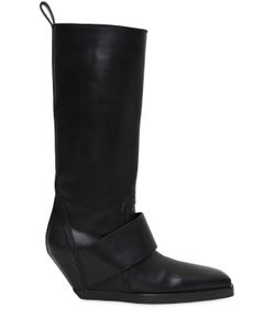 Rick Owens | 70mm Leather Band Wedged Knee High Boots